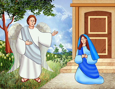 An angel tells Mary about the holy virgin conception