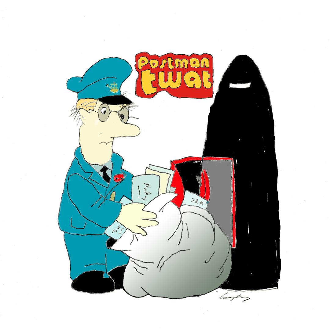Postman Pat as Boris Johnson with a letterbox niqab.