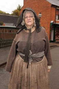 Ann Widdecombe dressed in Victorian clothing.