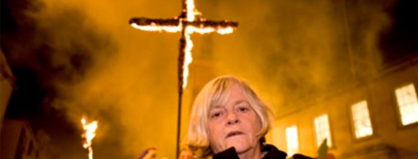 Ann Widdecombe MEP with a burning cross.