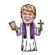 Cartoon of President Donald Trump dressed as a priest holding a bible and cross.
